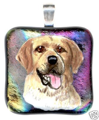 DOG or CAT PET PORTRAIT PAINTING ON DICHROIC GLASS PENDANT, MEMORIAL