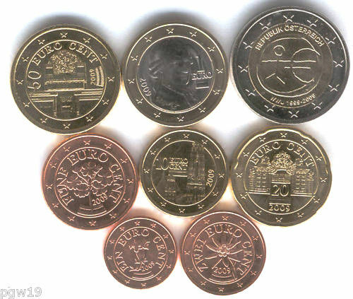 AUSTRIA 1 2 5 10 20 50 CENTS 1 2 EURO 2011-2014 UNC FULL COIN SET OF 8