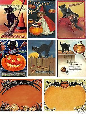 Vintage Halloween Postcard Collage Sheet           A31