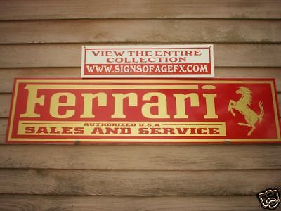 1950's-60's STYLE FERRARI  METAL DEALER/SERVICE SIGN/AD W/HORSE- 2 COLOR OPTIONS