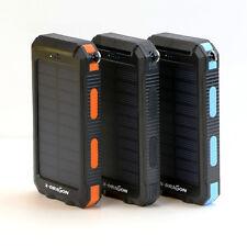 Waterproof 300000mAh Solar Power Bank 2USB Battery Portable Charger for Phone UK