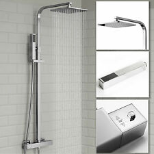 Thermostatic Shower Mixer Chrome Exposed Twin Head Valve Set