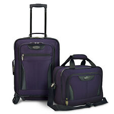 US Traveler Charleville 2pc Carry-on Expandable Spinner Luggage Tote Bag Set