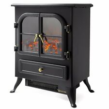 1500 watt free Standing Log Electric portable Fireplace space Heater wood log